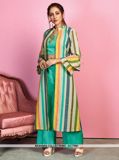 AC77891 - Sea Green and Multi Color Color Cotton Satin and Handloom Cotton Readymade Western Wear