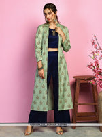 AC77895 - Navy Blue and Light Green Color Cotton Satin and Handloom Cotton Readymade Western Wear