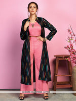 AC77896 - Pink and Navy Blue Color Cotton Satin and Handloom Cotton Readymade Western Wear