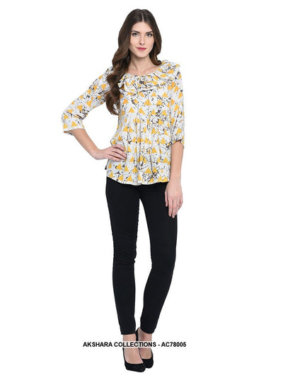AC78005 - Off White and Yellow Color Rayon Readymade Top