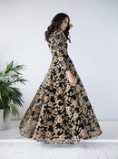 AC78067BL - Black Color Net Readymade Gown