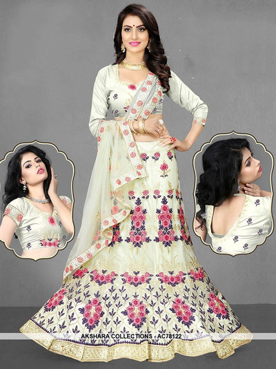 AC78122 - Off White Color Net Lehenga Choli