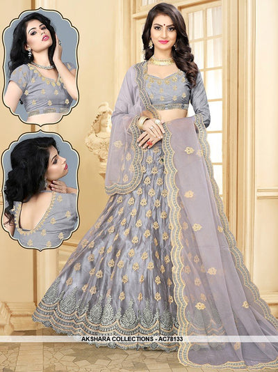 AC78133 - Grey Color Net Lehenga Choli