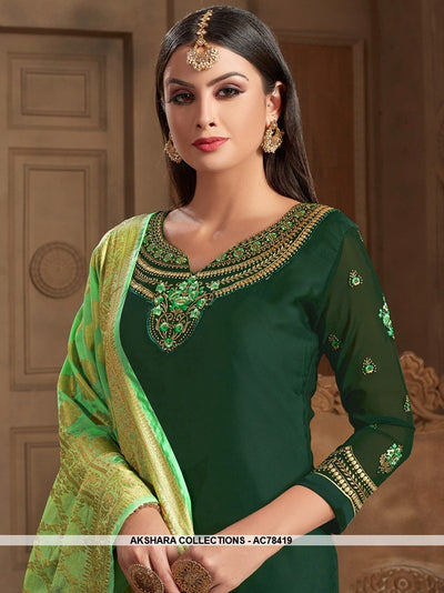 AC78419 - Dark Green Color Satin Georgette Palazzo Suit