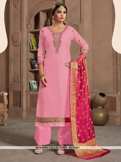AC78421 - Pink Color Satin Georgette Palazzo Suit