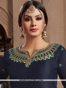 AC78423 - Navy Blue Color Satin Georgette Palazzo Suit