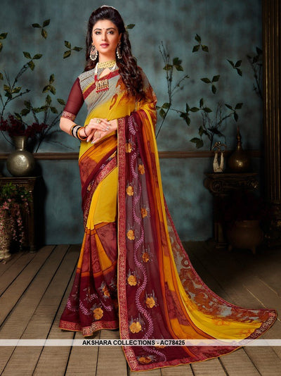 AC78425 - Yellow Color Weightless Georgette Saree
