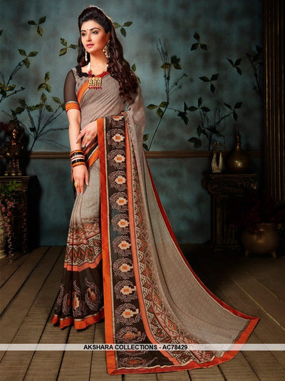 AC78429 - Grey Color Weightless Georgette Saree