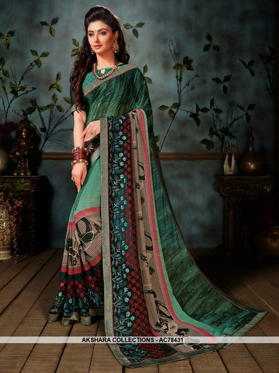 AC78431 - Teal Color Weightless Georgette Saree