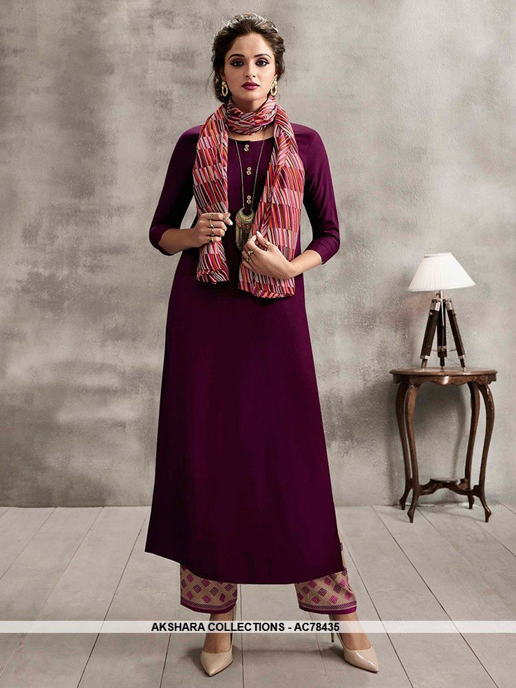 AC78435 - Wine and Multi Color Color Rayon Cotton and Soft Cotton Readymade Kurti With Palazzo & Scarf