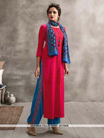 AC78436 - Rani Pink and Blue Color Rayon Cotton and Soft Cotton Readymade Kurti With Palazzo & Scarf