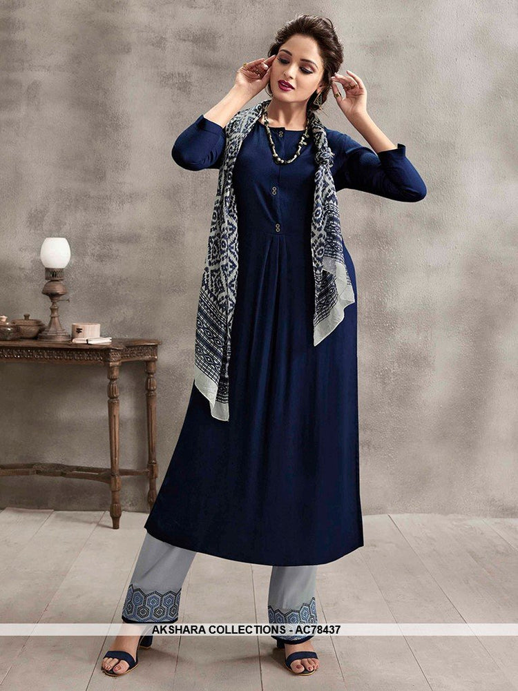 AC78437 - Navy Blue and Grey Color Rayon Cotton and Soft Cotton Readymade Kurti With Palazzo & Scarf