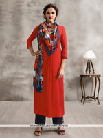 AC78438 - Orange and Multi Color Color Rayon Cotton and Soft Cotton Readymade Kurti With Palazzo & Scarf