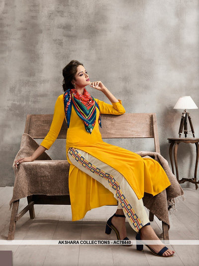 AC78440 - Yellow and Multi Color Color Rayon Cotton and Soft Cotton Readymade Kurti With Palazzo & Scarf
