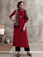 AC78441 - Maroon and Multi Color Color Rayon Cotton and Soft Cotton Readymade Kurti With Palazzo & Scarf