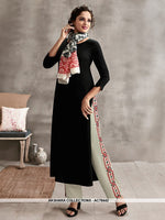 AC78442 - Black and Multi Color Color Rayon Cotton and Soft Cotton Readymade Kurti With Palazzo & Scarf