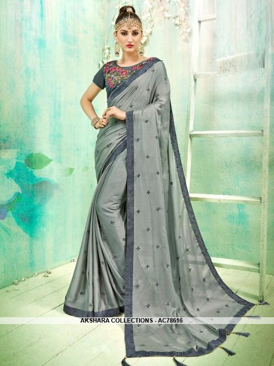 AC78616 - Grey Color Dola Silk Saree