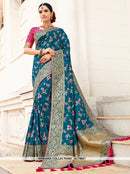 AC78621 - Blue Color Banarasi Jacquard Silk Saree