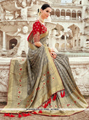 AC78622 - Grey Color Banarasi Jacquard Silk Saree