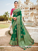 AC78625 - Green Color Banarasi Jacquard Silk Saree
