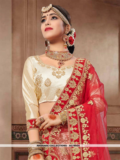 AC78934 - Beige Color Silk Satin Lehenga Choli