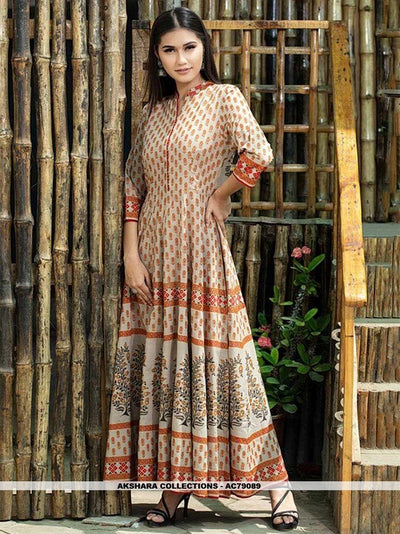 AC79089 - Beige Color Maslin Cotton Readymade Gown