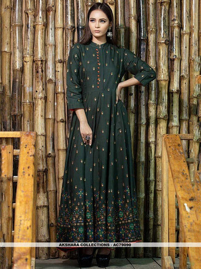 AC79090 - Dark Green Color Maslin Cotton Readymade Gown
