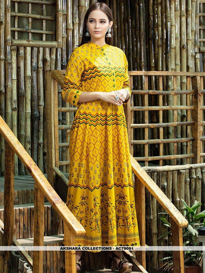 AC79091 - Yellow Color Maslin Cotton Readymade Gown