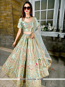 AC79204 - Light Green Color Malai Satin Lehenga Choli