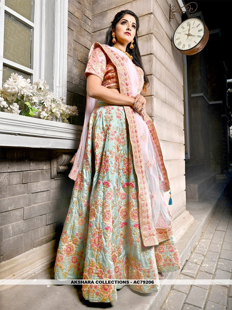 AC79206 - Medium Aquamarine Color Bamboo Silk Lehenga Choli