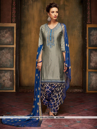 AC79409 - Grey Color Satin Glaze Patiyala Suit