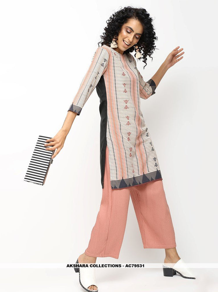 AC79531 - Off White and Black Color American Crepe Readymade Kurti