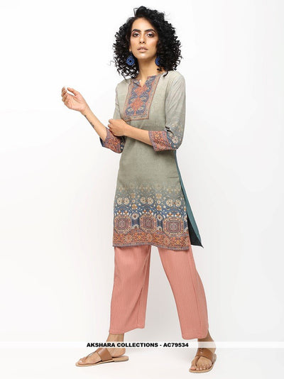 AC79534 - Light Grey Color American Crepe Readymade Kurti