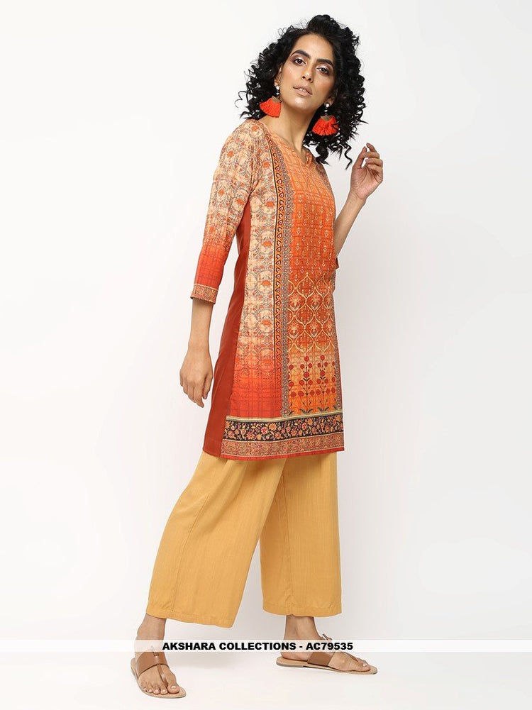 AC79535 - Orange Color American Crepe Readymade Kurti