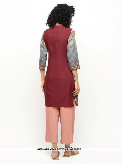 AC79537 - Grey and Maroon Color American Crepe Readymade Kurti
