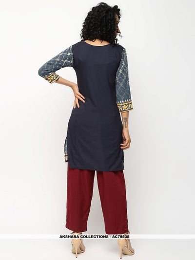 AC79538 - Dark Grey Color American Crepe Readymade Kurti