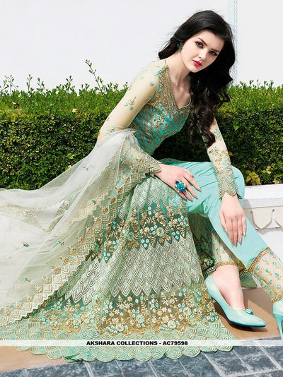 AC79598 - Sea Green Color Net Anarkali Suit