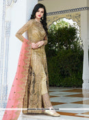 AC79599 - Beige Color Net Anarkali Suit