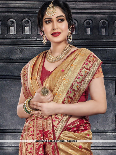 AC79601 - Beige Color Moonga Art Silk Saree