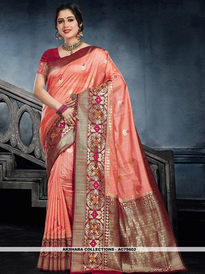 AC79602 - Peach Color Moonga Art Silk Saree