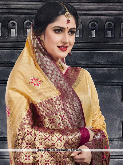 AC79603 - Gold Color Moonga Art Silk Saree