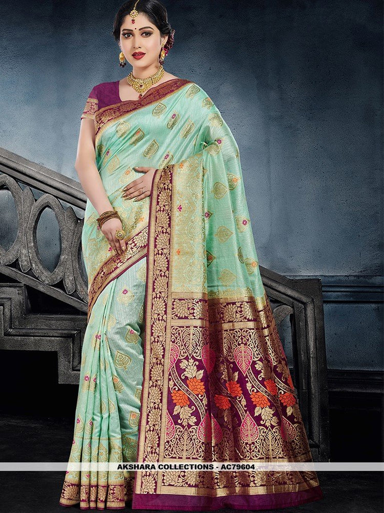 AC79604 - Sea Green Color Moonga Art Silk Saree