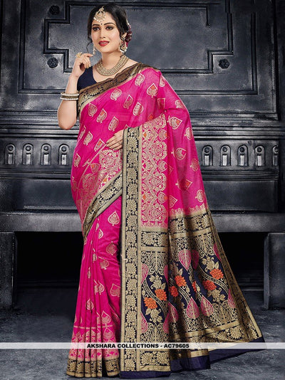 AC79605 - Dark Pink Color Moonga Art Silk Saree
