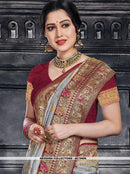 AC79606 - Grey Color Moonga Art Silk Saree