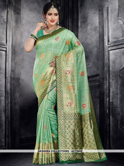 AC79609 - Sea Green Color Moonga Art Silk Saree