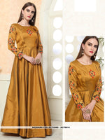 AC79614 - Musturd Yellow Color Tafeta Art Silk Readymade Gown