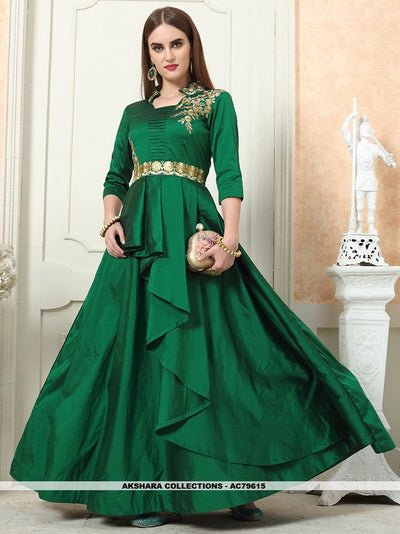AC79615 - Dark Green Color Tafeta Art Silk Readymade Gown