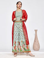 AC79992 - Pink and Olive Green Color Muslin and Orgenza Readymade Western Wear