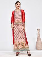 AC79995 - Grey and Red Color Muslin and Orgenza Readymade Western Wear