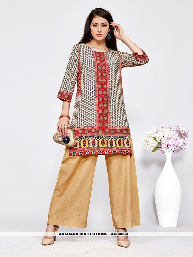 AC80063 - Off White and Red Color American Crepe Readymade Kurti